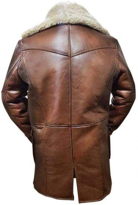Batman Dark Knight Rises Bane Fur Shearling Brown Leather Coat