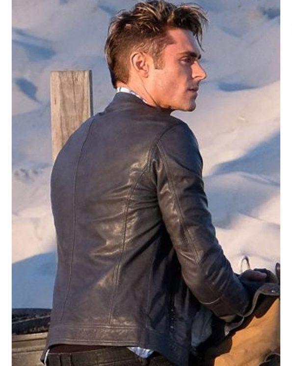 Baywatch Zac Efron Motorcycle Black Leather Jacket