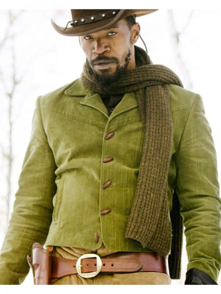Jamie Foxx Django Unchained Green Leather Jacket