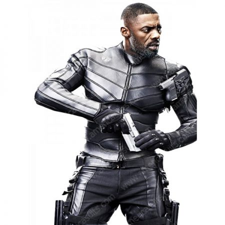 Idris Elba Fast and Furious 2019 Hobbs and Shaw Brixton Lore Black Leather Jacket Costume