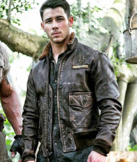 Alex (Nick Jonas) Jumanji 2 Welcome To The Jungle Fur Collar Leather Jacket