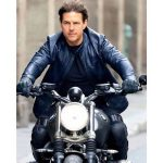 Mission Impossible 6 Fallout Tom Cruise Blue Biker Leather Jacket