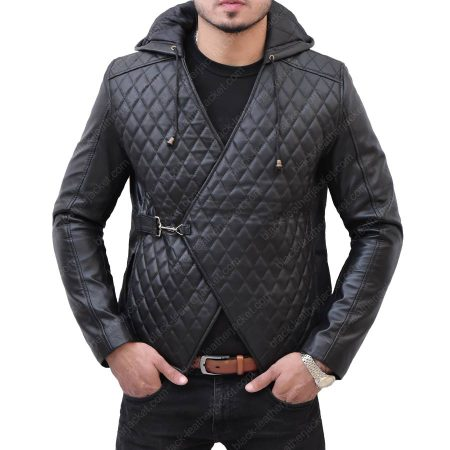 Robin Hood Taron Egerton Quilted Black Hoodie Leather Jacket