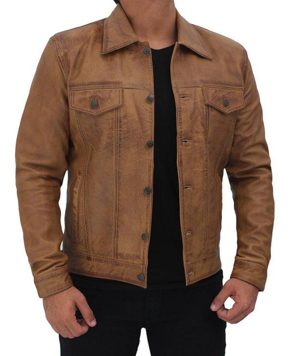 Distressed-Tan-Trucker-Leather-Jacket
