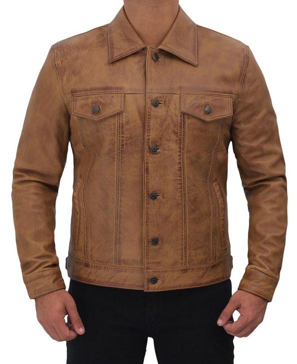 Mens-Trucker-Leather-Jacket-Tan-Distressed