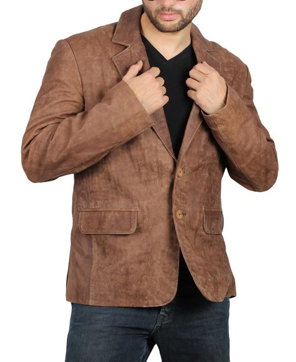 notch-lapel-brown-leather-blazer