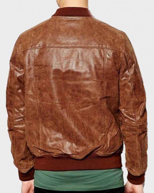 Distressed-Leather-Mens-Dark-Brown-Bomber-Jacket