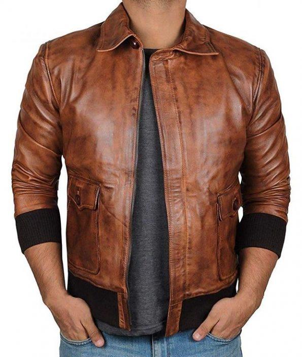 Mens-darkbrown-leather-jacket-bomber-620×733
